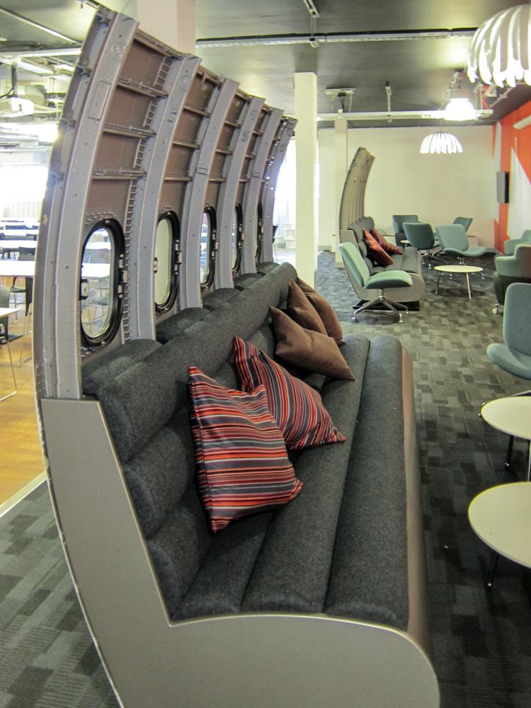 Metal seating in Easyjet office