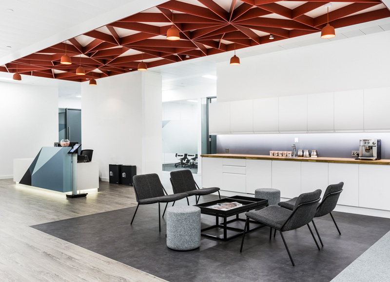Reception desk, seating and kitchen all in one area