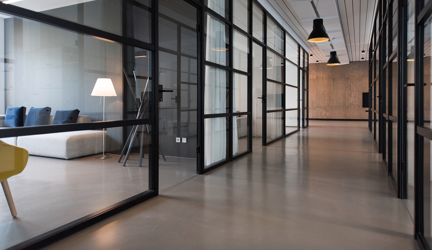 Office with large corridor showcasing an accessible office