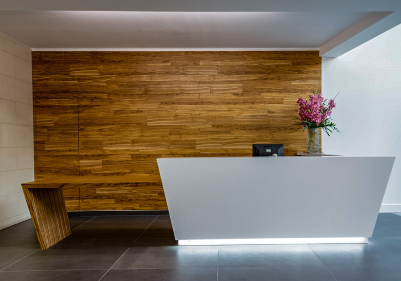 Reception desk with feature wall