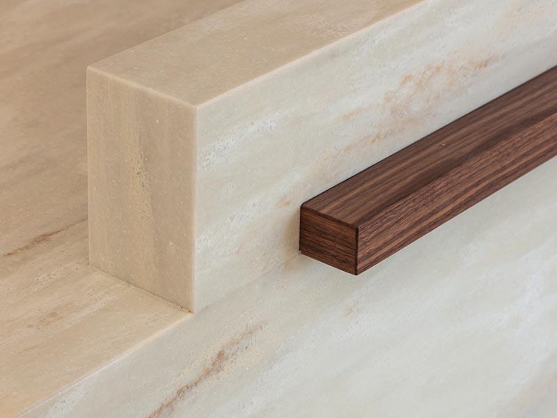 Corian close up with wood