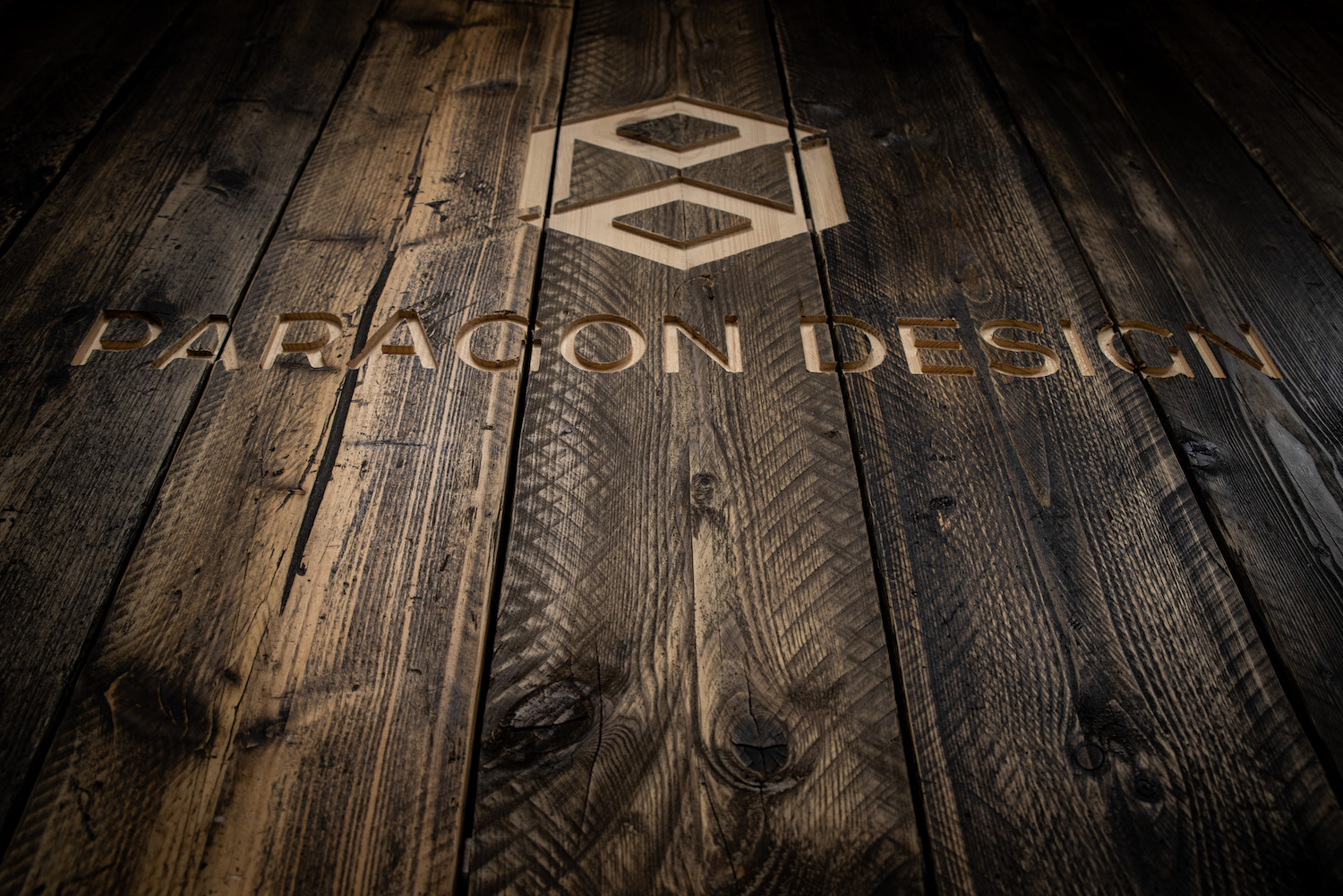 Paragon name on reclaimed timber