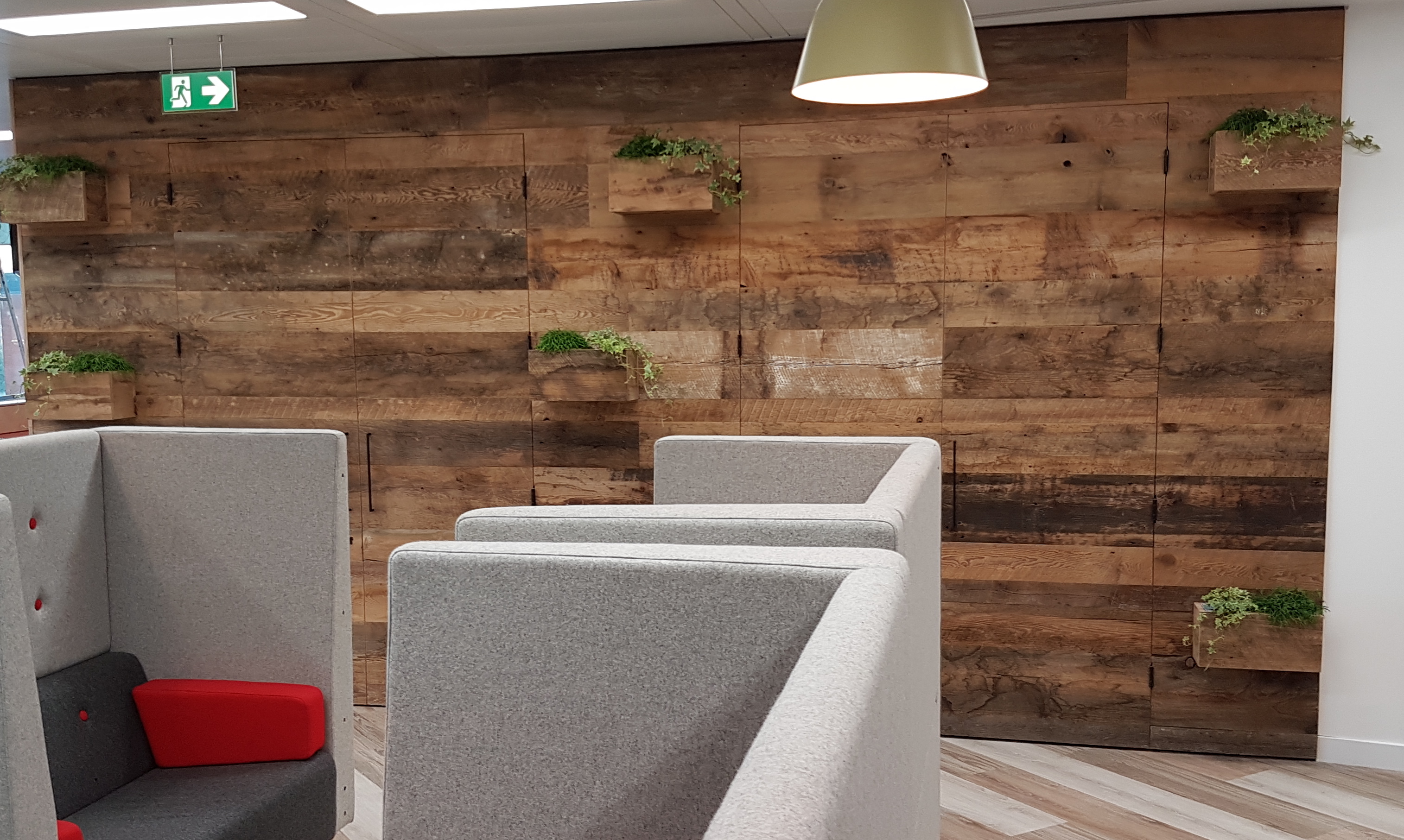 Feature wall reclaimed timber